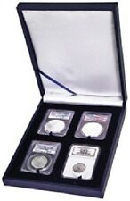 Leatherette Style Display Box for 4 Slab Certified Coin Holder Case PCGS NGC ANA