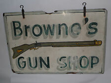 VINTAGE HAND PAINTED 2-SIDED NC WOOD GUN SHOP/STORE  SIGN! MUSKET! 3' x 2'! OLD!