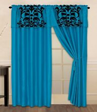 Luxury Flocking Turquoise Black New Window Curtain Panels Liner Tassel