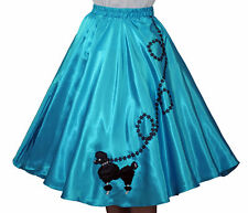 "Aqua Blue SATIN Poodle Skirt _ Adult Size Plus XL-3XL _ Waist 40""- 48"" _ L 25"""