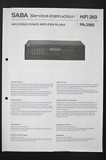 SABA Stereo Power Amplifier PA-2065 Service-Instruction/Diagram/Schaltplan o87