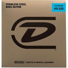Dunlop DBFS45125 Flatwound Stainless Steel 5-String Bass Strings Set (45-125)
