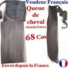 Extension Mèche Cheveux Queue De Cheval Velcro Nuancé Marron Lisse Raide QU 26