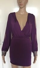 PURPLE, SIZE 10, LIPSY, PLUNGE V NECK MINI/SHORT DRESS, SEXY, NWOT, SILVER STUDS