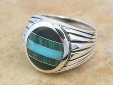 MENS STERLING SILVER TURQUOISE MALACITE ONYX RING size 10  style# r1282