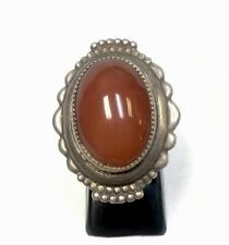 VINTAGE STERLING SILVER CARNELIAN SARD RING RED SZ 6-8  RED BROWN STONE