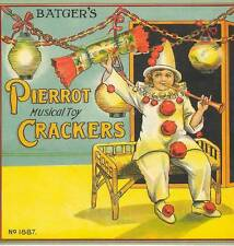 Musical Toy Crackers clown laterns   British Cracker  Box label Batgers