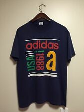 Vintage 1988 ADIDAS Graphic Tee Shirt LARGE Navy Blue USA Retro Sport Athletic