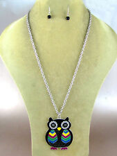 "Silver Toned 24"" Chain With Black Colorful Owl Pendant"