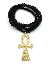 "New Ankh Cross Pendant & 30"" Wooden Bead Chain Hip Hop Necklace - RC2152GBK"