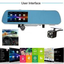 "5"" Android GPS Navigation Rearview Mirror DVR Dual Lens Camera WiFi + Brush A0R2"