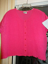 """FASHION BUG """"Sleeve Top"""" Hot Pink Button Front Top""""w/ Gathered Elastic Front  XL"""