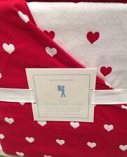 New Pottery Barn Kids Red HEARTS Full Queen DUVET Flannel *  Valentines Day