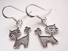Very Small Cat Earrings 925 Sterling Silver Dangle Corona Sun Jewelry Kitty Love