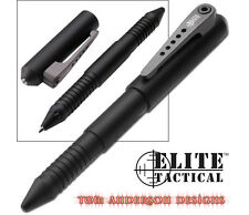 "NEW 5.25"" MTECH ELITE TACTICAL ALUMINUM PEN w/ GLASS BREAKER Self Defense Black"