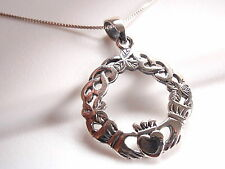 Celtic Weave Claddagh Necklace 925 Sterling Silver Corona Sun Jewelry