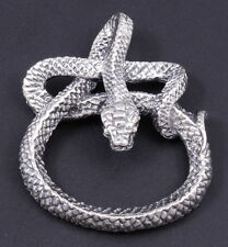 HUGE HEAVY SNAKE SERPENT BOA COBRA 925 STERLING SILVER MENS PENDANT CHARM BO8