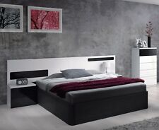 Alonza Designer 4ft6 Double Ottoman Black Bed + White Headboard with 2 Bedsides