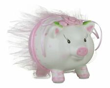 "Mud Pie - Ballerina Kids Piggy - Money Bank - Hand-painted Ceramic – 5.5"" x 6"""