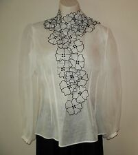 NWT Yves Saint Laurent Rive Gauche Sheer White & Black Floral Applique Blouse