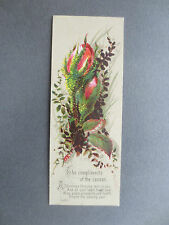 Antique Greetings BOOKMARK Victorian CHRISTMAS Compliments of the Season Roses