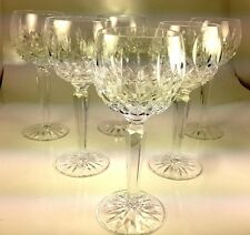 Waterford Crystal Glass 6 Hock Wine Glasses Goblets Lismore