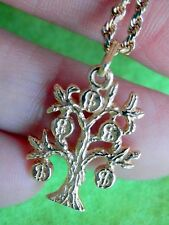 "14K Solid Yellow Gold Money Bag Tree Dollar Pendant Heavy 16"" Rope Chain 8.4g"