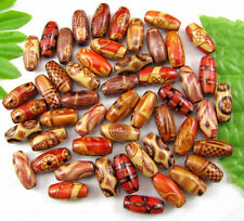 50Pcs 15X7MM Mixed Hand painted art Wood oval loose beads DIY FINDINGS