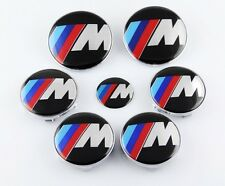 7pcs New ///M Hood Trunk Steering Emblem Badge Wheel Center Hub Caps for BMW