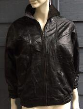 ITALIAN STONE DESIGN NAVARRE Women/Men? Jacket Coat Black Leather Zip Up Size 16