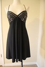 Cache Black Padded Bust Slip Beaded Metal Cocktail Dress 4 S