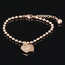 Women Stainless Steel Fashion Rose Gold Bead Chain Double Heart Charms Bracelet