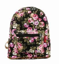 "New 12"" Medium Shoulder Girls Women Best Backpack  Rose Flower Floral Black"