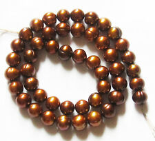 """Freshwater Pearl Bronze Brown 8-9mm Potato Round Loose Beads 16"""" Strand W52"""