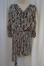Laundry by Shelli Segal Dress Sz 10 Paradise Black White Multi Business Casual