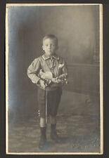 ENFANT AVEC VIOLON CARTE-PHOTO FLAMENG ?? PHOTOGRAPHE SAINT-GHISLAIN BELGIQUE