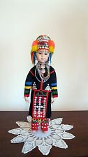 OOAK Porcelain Thai Akha Hill Tribe Standing Doll of Northern Thailand (New) AA