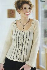 KNITTING PATTERN Ladies Lace Design Cardigan Long Sleeve Yeo Valley PATTERN