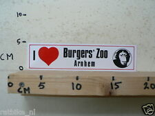 STICKER,DECAL I LOVE BURGERS ZOO SAFARI ARNHEM HOLLAND MONKEY