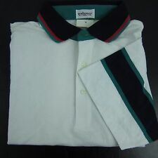 Vintage SporThomson Thin Polo Golf Shirt Mens XL Colorblock Made Hong Kong NWT