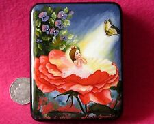 Russian small signed HAND MADE LACQUER Box FAIRY GIRL in ROSE FLOWER BUTTERFLY