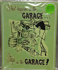 Vintage Replica Tin Metal Sign What Happen in Garage Shop Work Place Stays 98390