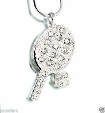 w Swarovski Crystal Tennis Racket Ball Racquet Player Pendant Necklace Jewelry