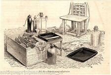 Antique print Photography 1863 photo plate camera station photographer equipment