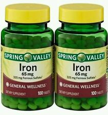 2x 100 CT Spring Valley Iron 65 mg, 200 ct TOTAL  tablets twin Ferrous Sulfate