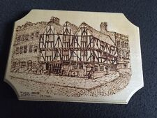 Pyrograved hand crafted Tudor House, Castle Hill, Lincoln Plaque