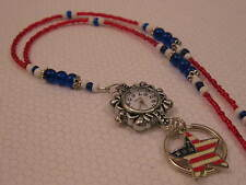 RED-WHITE-BLUE WATCH LANYARD NECKLACE Handmade Beaded ID Badge Holder