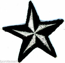 Very Good Silver Black Star Iron on Patches Applique Cloth Accessory UK Post