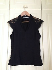 NEXT black floral satin jacquard lace up top blouse goth gothic victorian 14 NEW