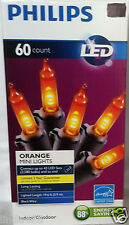 PHILIPS LED 60 ORANGE MINI STRING LIGHTS BLACK  WIRE TREES HOUSE HALLOWEEN
